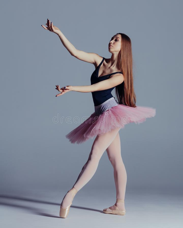 Young beautiful ballerina is posing in studio. Young beautiful ballet dancer is posing in studio royalty free stock photography