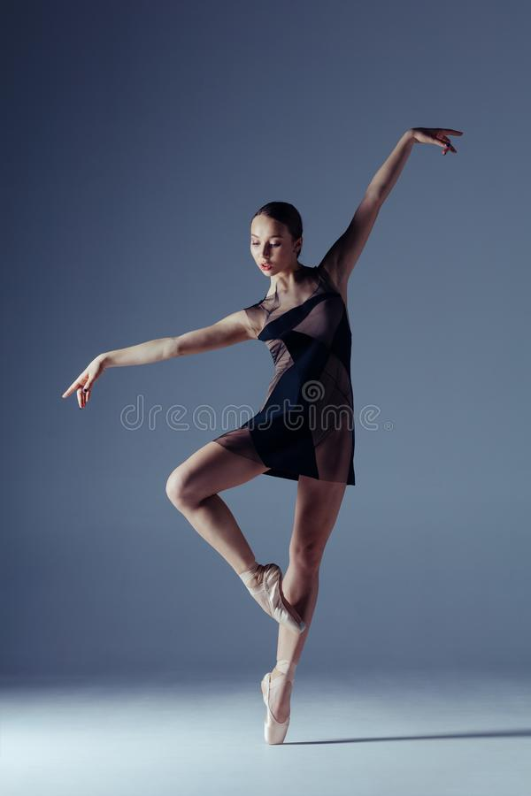 Young beautiful ballerina is posing in studio royalty free stock photo