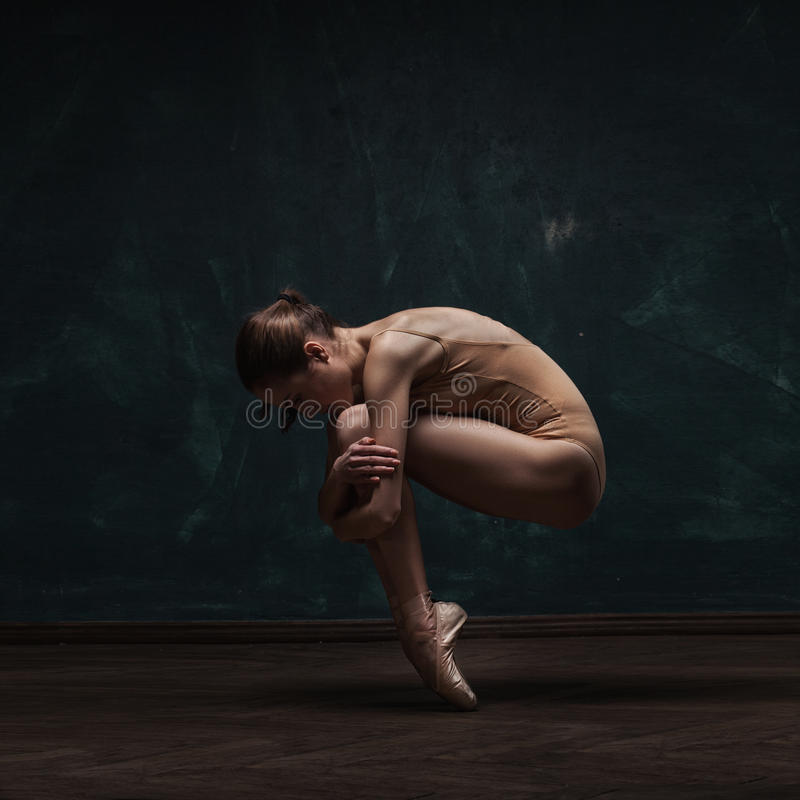 Young beautiful ballet dancer in beige swimsuit. Posing on pointes over dark grunge background stock photo