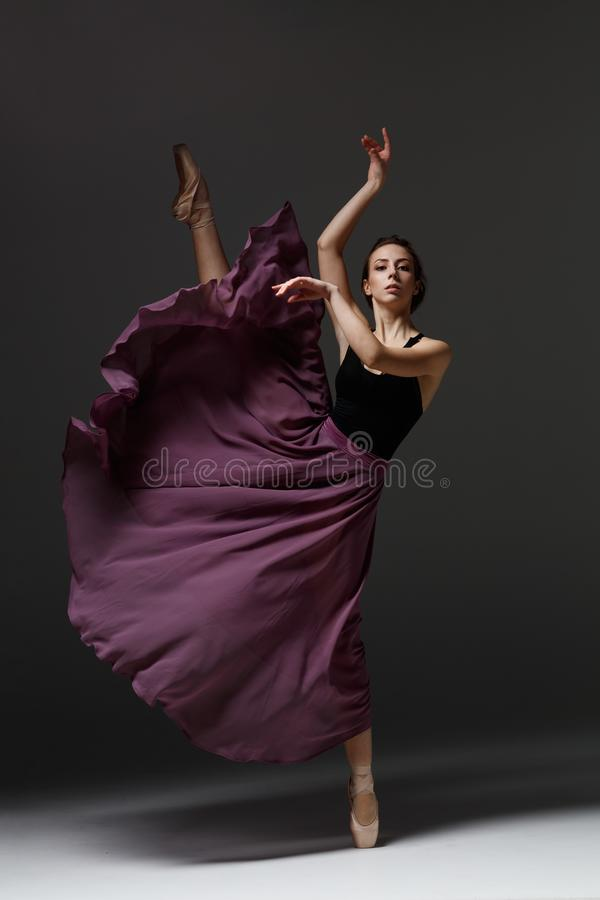 Young beautiful ballerina is posing in studio royalty free stock photography
