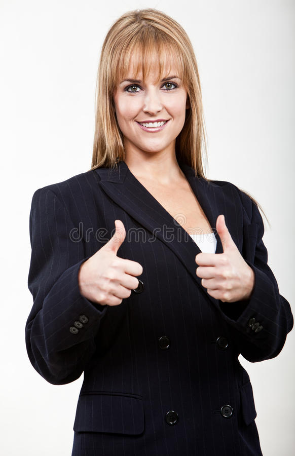 Young and beautiful blond caucasian businesswoman stock photo