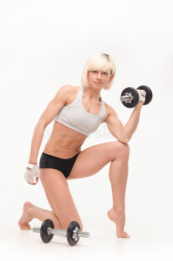 Young beautiful blonde with an athletic figure stock photo