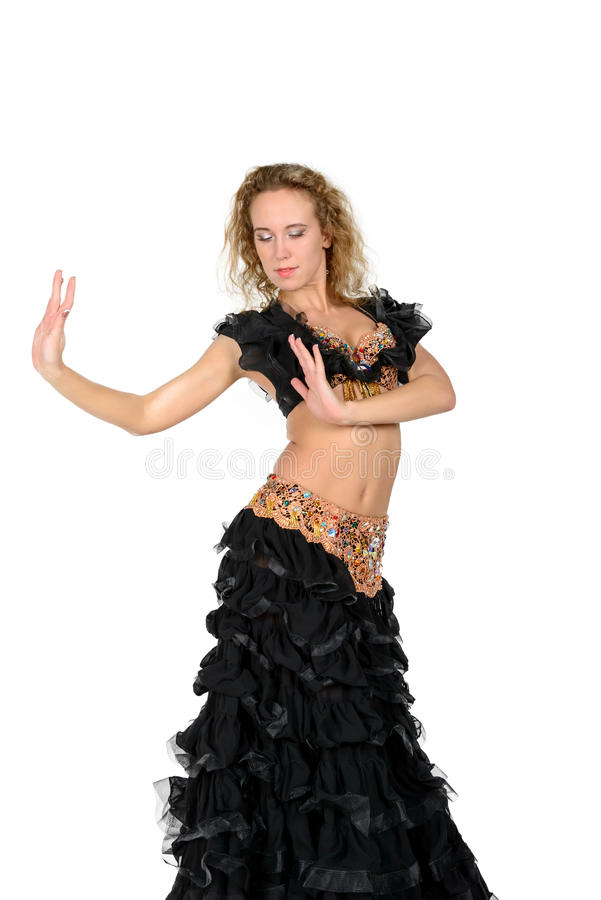 Young beautiful blonde in a dance costume royalty free stock photos