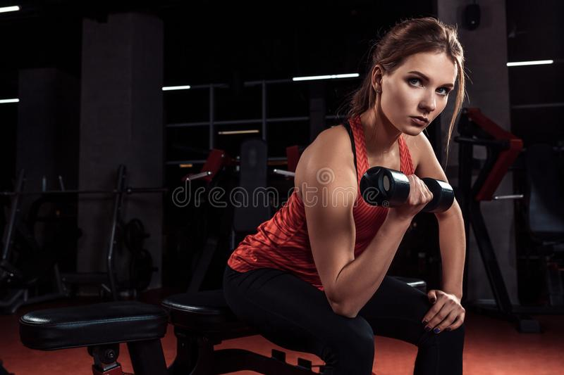 Young beautiful blonde girl is engaged in sports training with dumbbells in the gym. Portrait. Young beautiful blonde girl is engaged in sports training with royalty free stock photography