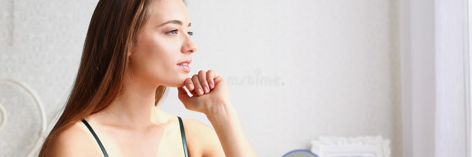 Young beautiful blonde smiling woman portrait royalty free stock images