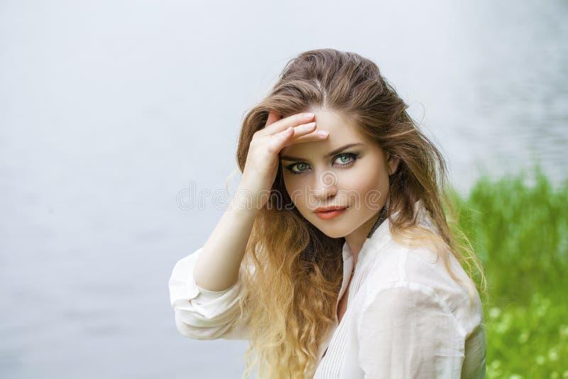 Young beautiful blonde woman. Close up Portrait, Young beautiful blonde woman posing outdoors in summer green park stock photos