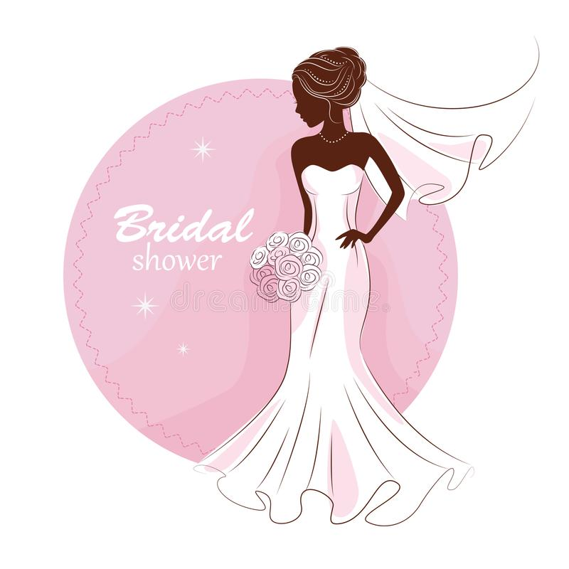 Young beautiful bride . Bridal shower. vector illustration