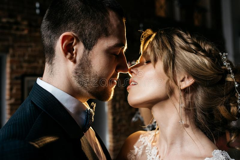 Young and beautiful bride and groom kiss, indoors stock photography