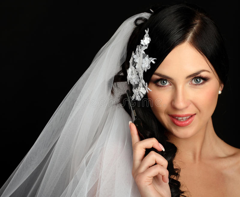 Download Young Beautiful Bride Talking On Mobile Phone Stock Photo - Image: 18929754