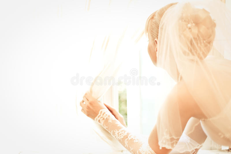 Download Young Beautiful Bride Waits For Groom Stock Photo - Image of outdoor, classic: 15305176