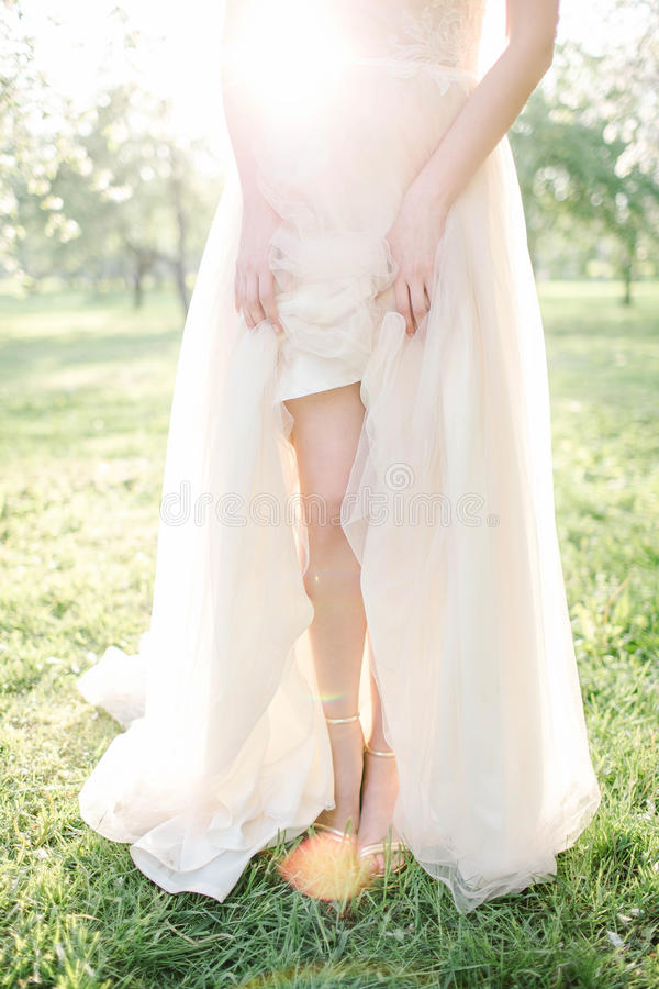 Young beautiful bride in wedding dress in park over sunlightYoung beautiful bride in wedding dress in park stock photos