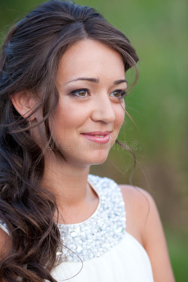 Young Woman In White Dress On Nature Royalty Free Stock Photography