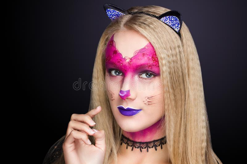 Cat woman make up royalty free stock image