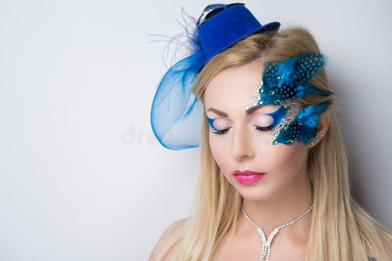 Woman blue bird stock photography