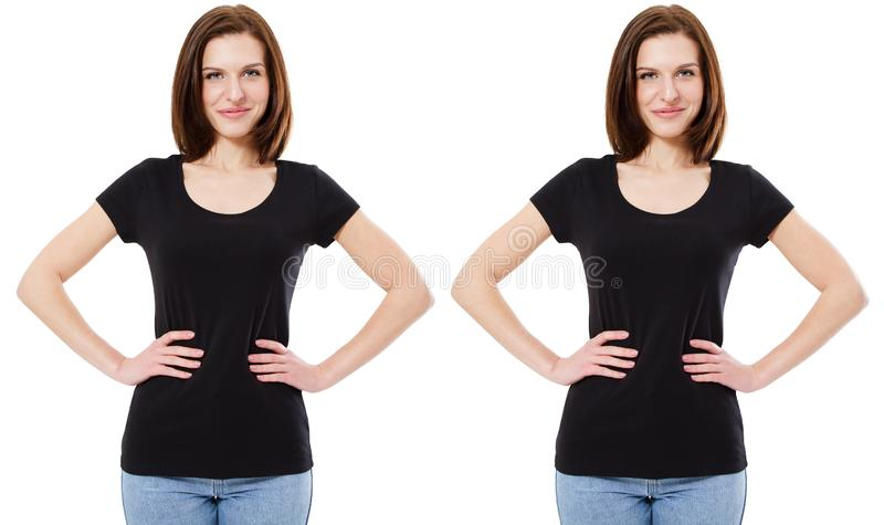 Young beautiful brunette female with blank black shirt, front. Ready for your design, logo royalty free stock photos