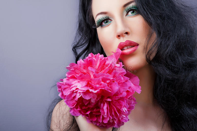 Download Young Beautiful Brunette  Girl With Pink Flower In Stock Image - Image: 27684915