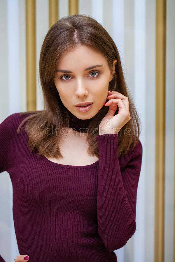 Young beautiful brunette model in dress stock photos
