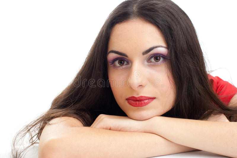 Download Young Beautiful Brunette Woman Closeup Stock Photo - Image of people, closeup: 13095092