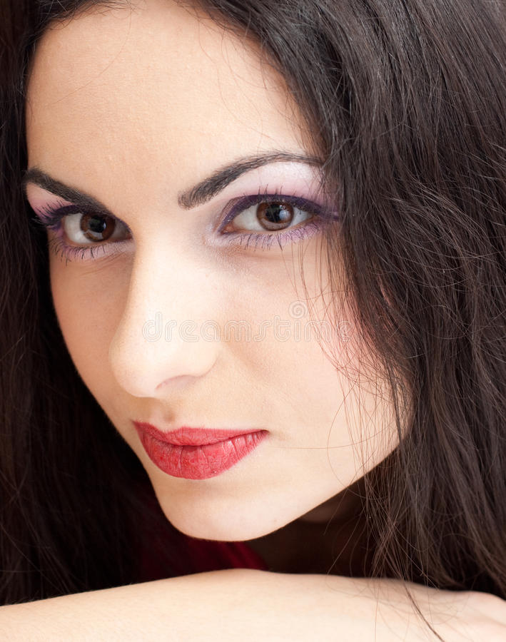 Download Young Beautiful Brunette Woman Closeup Portrait Stock Image - Image: 12886849