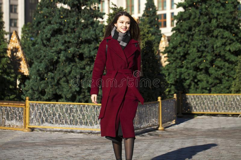 Young beautiful brunette woman in red coat posing on winter park royalty free stock photos