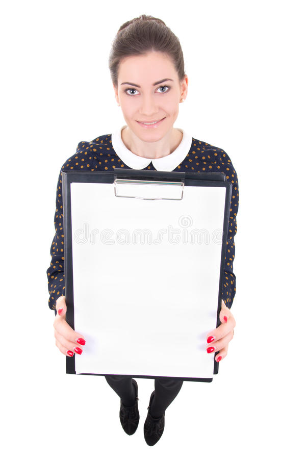 Young beautiful business woman in black dress holding blank clip royalty free stock image
