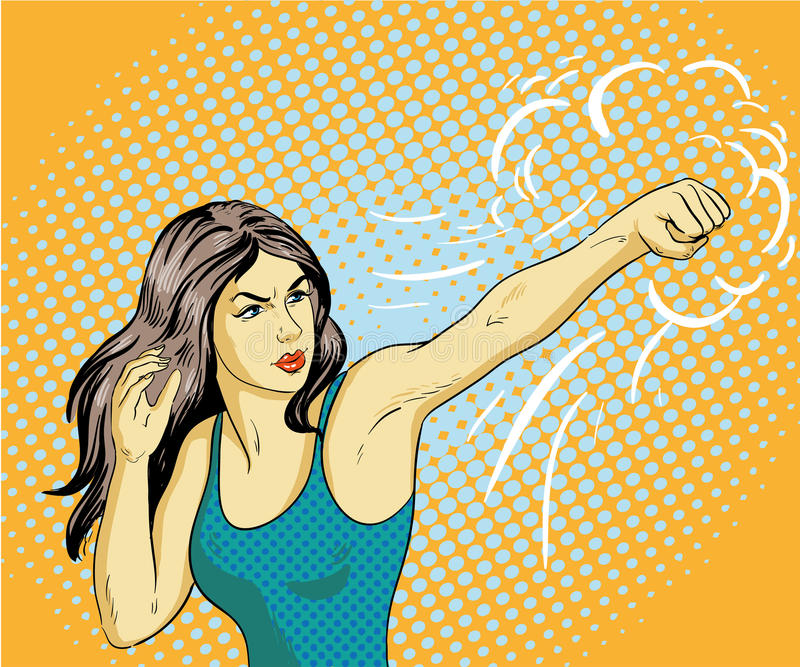 Young beautiful business woman punching and boxing. Concept vector poster in retro comic pop art style.  vector illustration