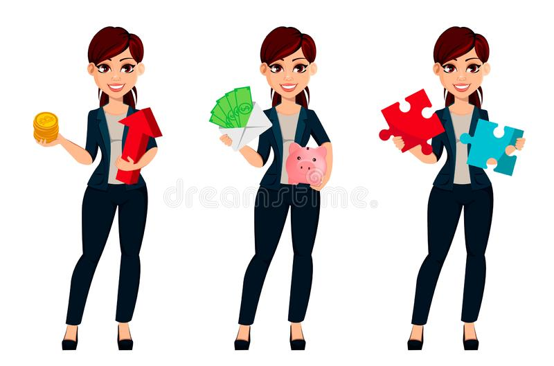 Young beautiful business womanYoung beautiful business woman, set of three poses. vector illustration