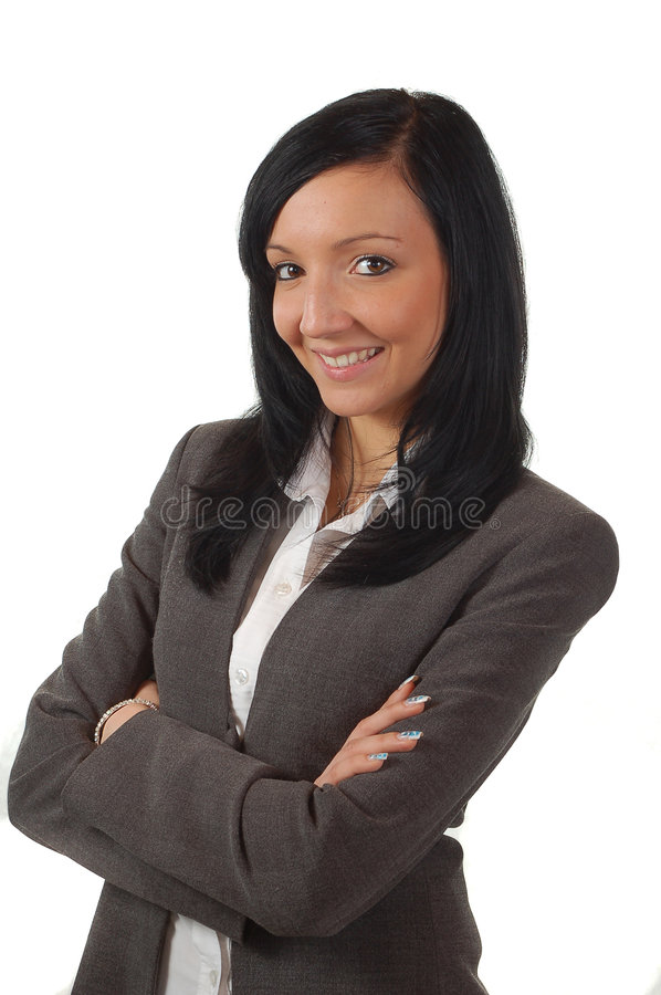 Young and beautiful business woman smileing. Adorable adult alone attitude attractive beautiful beauty body business businesspeople businesswoman collar royalty free stock photo