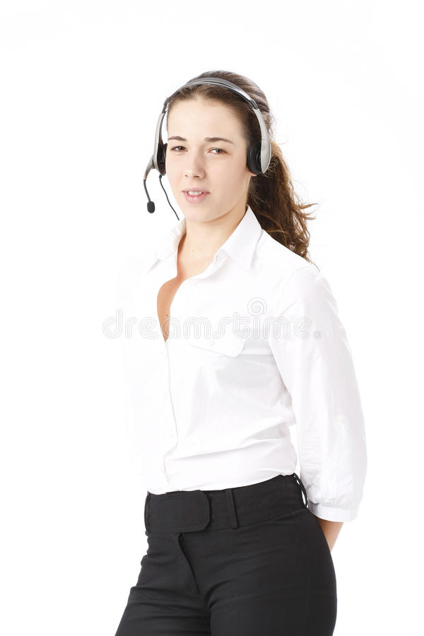 Download Young Beautiful Business Woman Using Head Phone Stock Image - Image: 16866243
