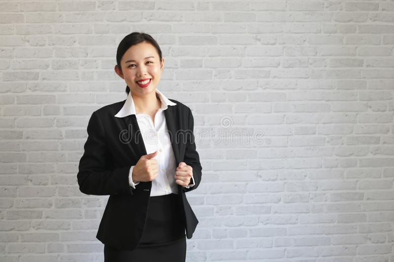 Young beautiful businesswoman being ready to work royalty free stock images