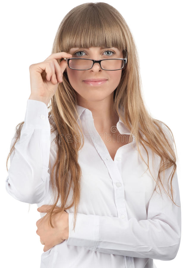 Young beautiful businesswoman wearing glasses royalty free stock image