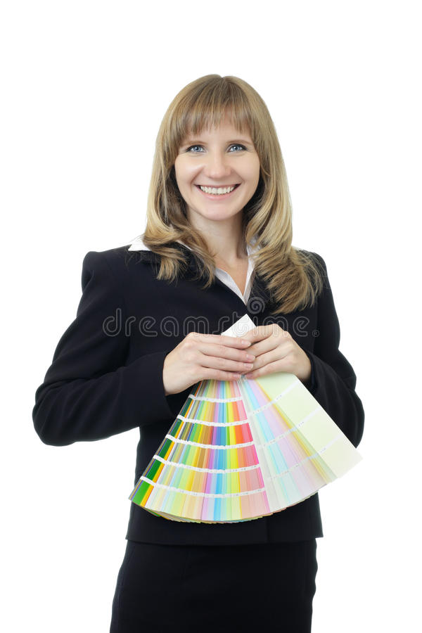 Young beautiful Caucasian business woman with blue eyes waist up studio shot on white background (isolated). Looking at camera and royalty free stock photos