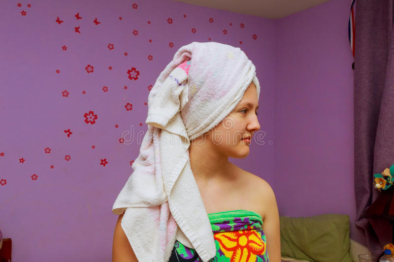 Young beautiful caucasian woman after bath royalty free stock image