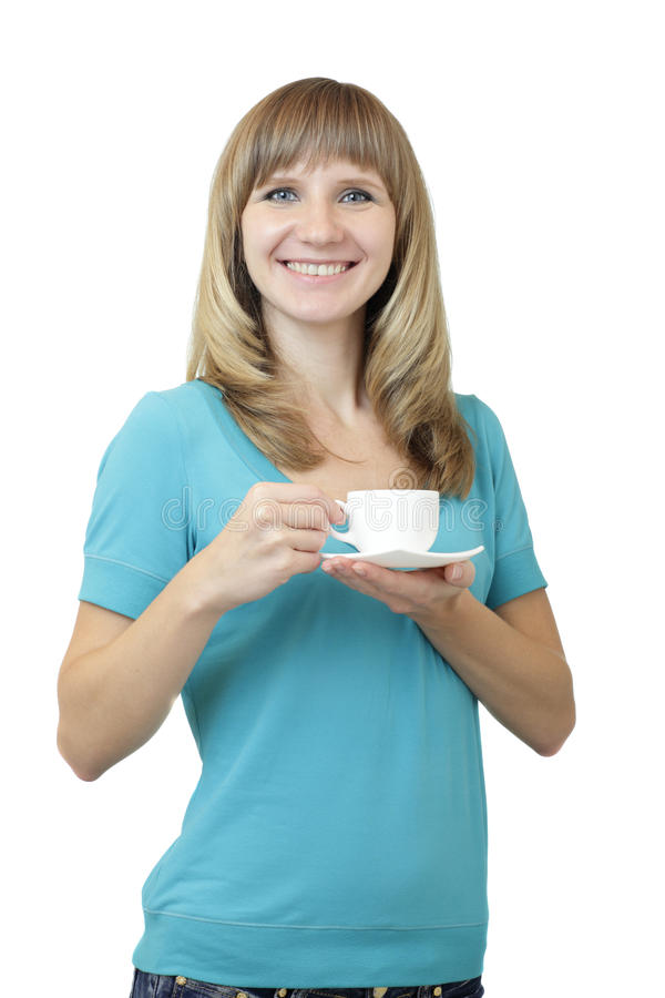 Young beautiful Caucasian woman with blue eyes waist up studio shot on white background (isolated). Looking at camera and smiling. stock image
