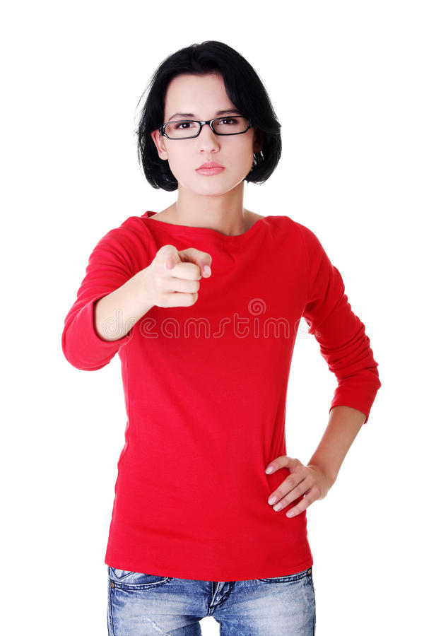 Young beautiful caucasian woman pointing on you royalty free stock image