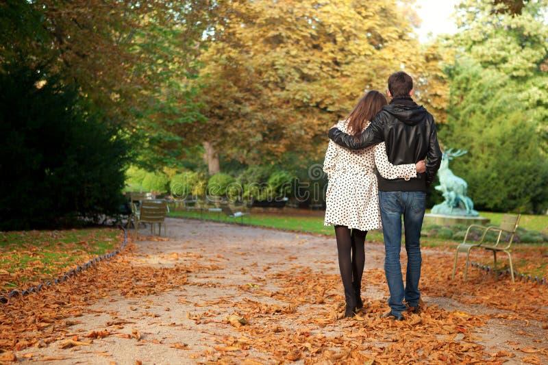 Young beautiful couple at fall royalty free stock photos