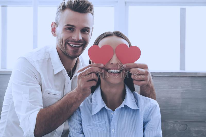 Young Beautiful Couple Having Fun at Sweet Home. stock photography