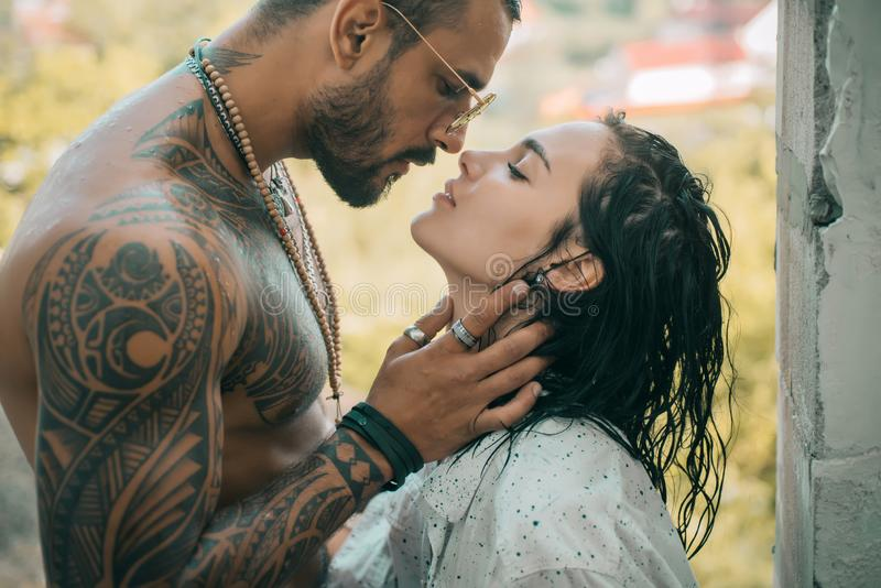 Young beautiful couple in love. Kissing couple. Trust him. Romantic and love. Sensual couple kiss. royalty free stock photography