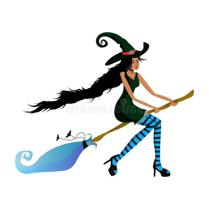 Young beautiful dark-skinned witch flies on a broom for a party or a sale. Dark-skinned girl in a witch costume for the Halloween stock illustration