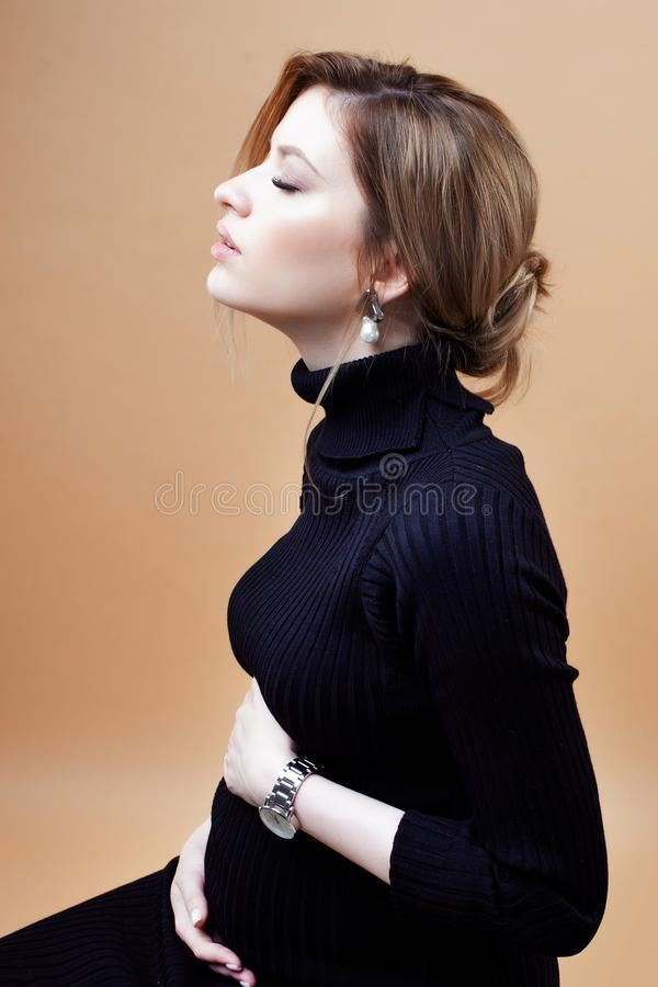 Young beautiful elegant and stylish pregnant woman. stock photography