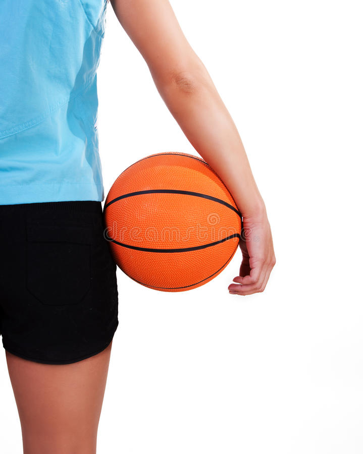 Young beautiful female basket ball player. Training stock photography