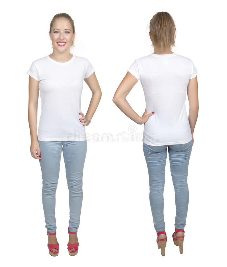 Young beautiful female with blank white shirt, front and back. royalty free stock images