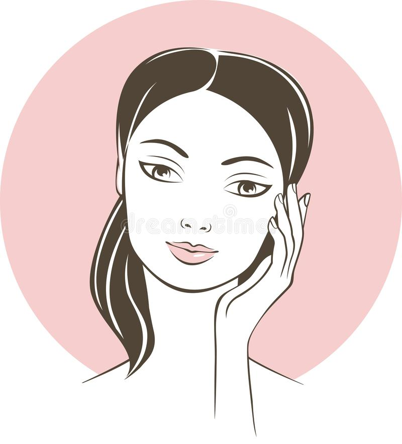 Young beautiful female face close up vector illustration