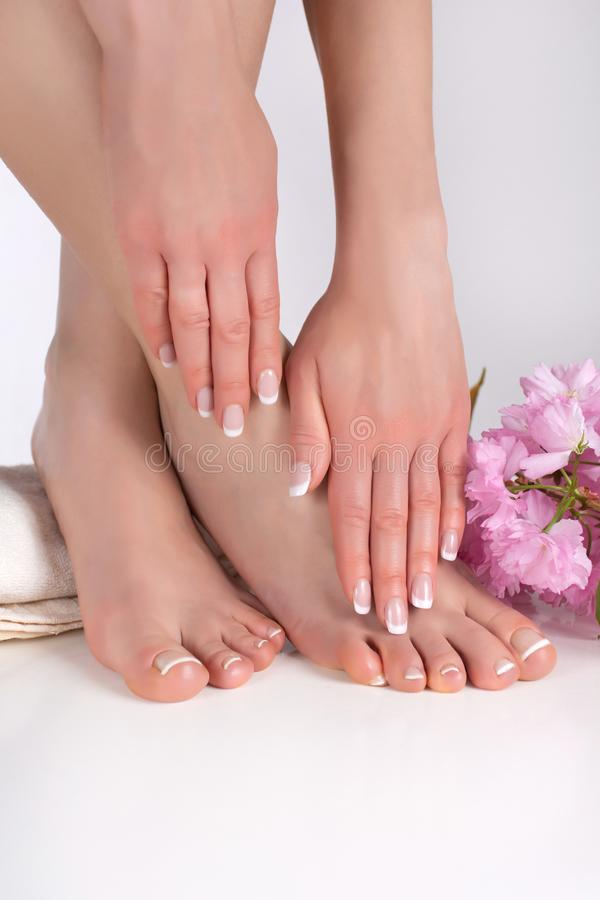 Woman legs with bare feet and hands with french manicure and pedicure on white towel in spa salon and decorative pink flower. Young beautiful female legs with stock photos