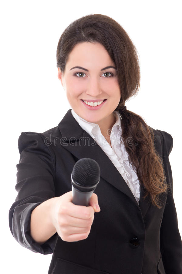 Young beautiful female reporter with microphone isolated on whit. E background stock images