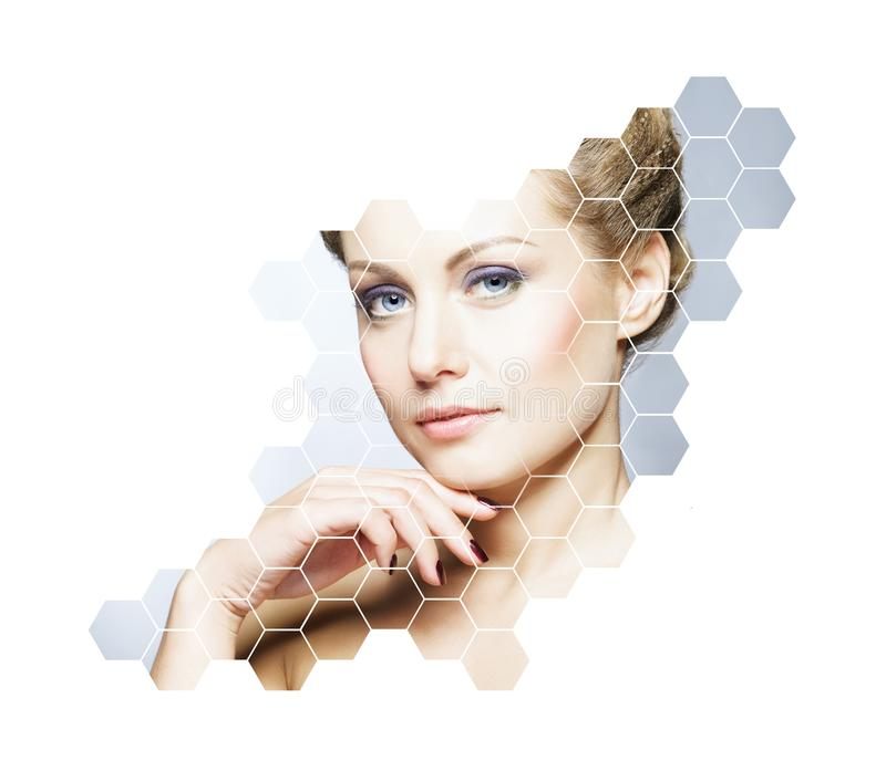 Portrait of young, healthy and beautiful woman. Plastic surgery, skin lifting, spa, cosmetics and medicine concept. Young, beautiful and fresh woman in plastic royalty free stock images