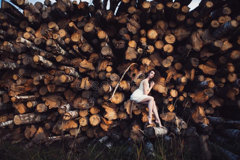 Young beautiful girl on a background of sawn trees stock photos