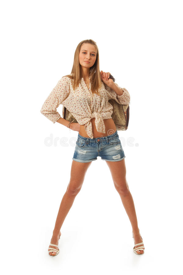 The Young Beautiful Girl With A Bag Stock Photos