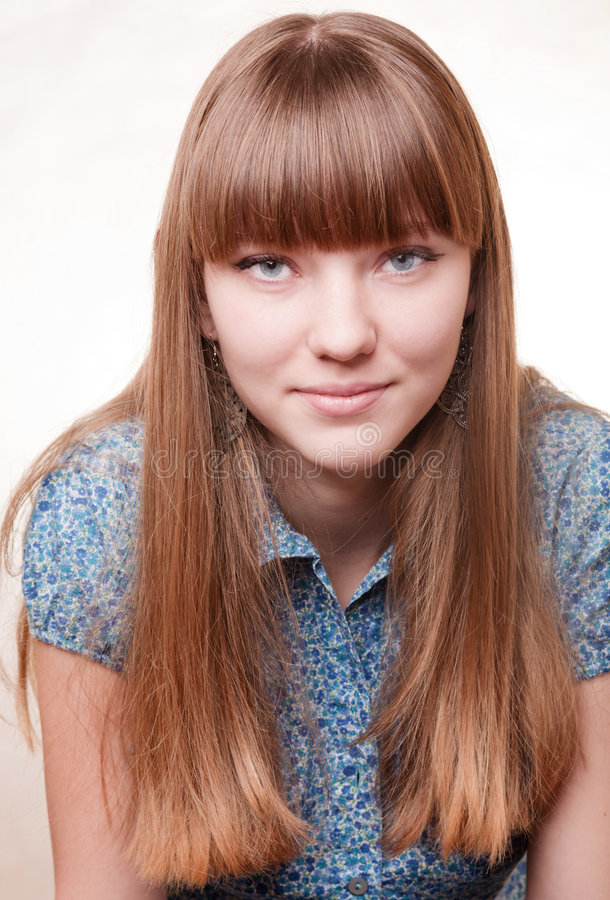 Download Young Beautiful Girl In Blue Blouse Stock Photo - Image of pretty, background: 7727190