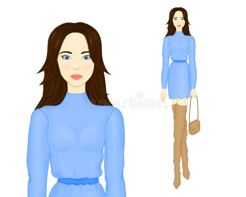 Young beautiful girl in blue dress. Girl in boots. Fashion illustration. Fashion illustration. A girl in a blue dress, a girl in beige boots. Young beautiful stock illustration